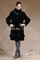 Fur Coats Rushed Women Covered Turn-down Collar 2014 New Style Women's Clothing Long Imitation Mink Overcoat Rex Rabbit Coat