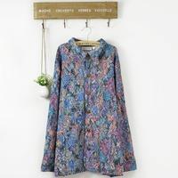Elegant Retro Women Embroidery Ethnic Jacket Coat Cotton Plus Big Size Print Tunic Outwear 4XL XXXXL XXXXXL 2014 New Autumn