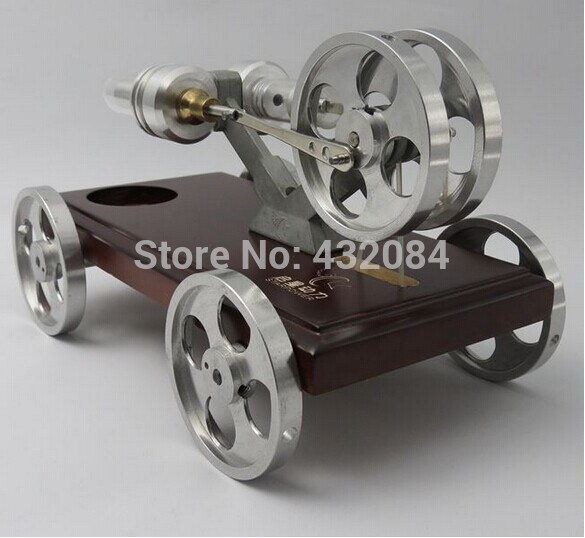 (cars) 4 wheels High Temperature Model Of Stirling Engine Hot Air Stirling Engine stainless steel metal basement Free Shipping(China (Mainland))
