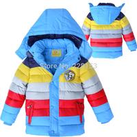 Retail New 2014 winter boys outerwear, boys coat, striped, children winter jacket, children outerwear & coats Free shipping