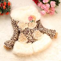 2014 new Retail Girls Leopard faux fox fur collar coat clothing  baby Children outerwear dress jacket