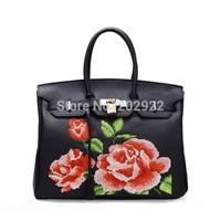 New Vintage Cross Stitch Designer Brand Floral Rose Real Genuine Leather Handbags Handmade Flower Women Bags Tote Shoulder bags