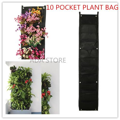 Big tamanho 10 Bolsos Vertical de parede poliéster parede Plantando Bags vida interior jardim parede Crescer plantador Bags Preto(China (Mainland))
