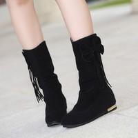 free shipping 2014 medium-leg snow boots  elevator flat heel boots