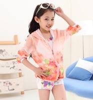 Children's clothing female child sun protection clothing 2014 parent-child sun protection clothing female big boy cardigan child