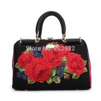New Vintage Cross Stitch Designer Brand Floral Rose Embroidery  Real Genuine Leather Women Handbags Messenger Tote shoulder bags