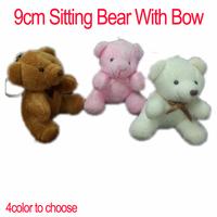 Sale <40pcs/lot 9cm> Cartoon Plush Sitting Bear Witb Bow Plush Dolls Craft Key/Phone/Bag/Applique/cute/baby Stripes,4color Mixed