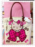 New 2014 Cartoon hello kitty Canvas Women Casual Shoulder Bags cotton Totes KT Style Large Capacity Shopping Bag Handbag