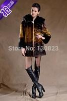 2014 Real Fur Coats Women Long Full Button New Women's Clothing Imitation Mink Overcoat High Quality Fashion Plus Size Fur Coat