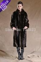 Fur Coats Striped Fur Rushed Covered Button Turn-down Collar Full 2014 New Imitation Mink Overcoat Long Rex Rabbit Design Coat