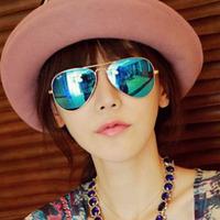 2014 glasses sunglasses male women's sunglasses reflective color film colorful large sunglasses