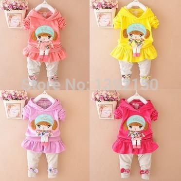 2015 autumn clothing style  Kids Girls Autumn suit  Velvet  Fashion sports suit  Autumn female baby suit(China (Mainland))