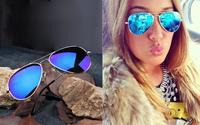 Full Blue Mirrored Aviator Sunglasses Dark Tint Lens Silver Frame