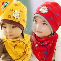 1set/lot (5Colors) NEW 2014  Free shipping 2pcs/set  Baby clothing sets Boys Girls Cotton Beanie Cap Bibs Kids Hat Bibs Set 2014