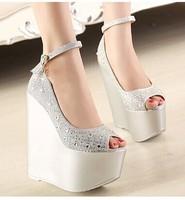 free shipping,2014 sexy peep toe 16 cm rhinestone wedges high heels platform women shoes pumps,lady heels club