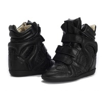 Isabel Marant High Top Genuine Leather Sneakers Color Leather Hollow Black,EU35~41,Dense-tooth Soles,Heel 8cm,shoes