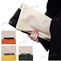 Hot Sales Women's Handbags Day Clutch Stitching Patchwork Folding Clutch Fashion Envelope Wristlet Purse Bag WJ1005