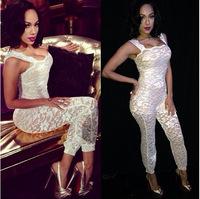 hot sale women clothes jumpsuits night club party clothes lace clothes low bust half transparent high quality