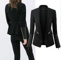 new 2014 fashion Sleeves fight skin women jacket slim Outerwear top lady Zipper decoration women's suit Office workers Blazer