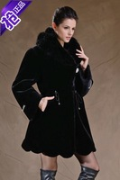 Fur Coats Wave Cut Real Covered Button Full 2014 New Autumn And Winter Women's Clothing Imitation Mink Overcoat Long Design Coat