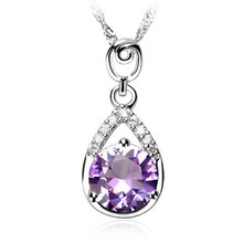 2014 New Fashion Jewelry Real 925 Sterling Silver Micro Pave With White AAA Cubic Zirconia Purple Pendant Necklaces Gifts WDZ070