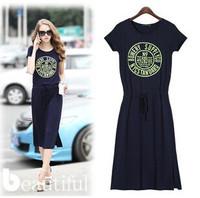 New 2014 European Short Sleeve Spring / Summer fashion printing short sleeve dress dress Free shipping