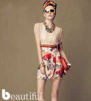 Hot! 2014 new women's casual summer dress imitation silk short-sleeved dress sexy women free shipping