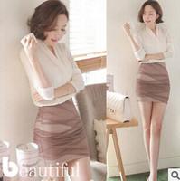 New 2014 Summer Casual Women Clothing False Two Pieces V-Neck Sleeve Chiffon Dress Vestidos, free shipping