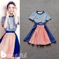 2014 latest women's fashion clothing casual round neck striped dress slim ladies free shipping