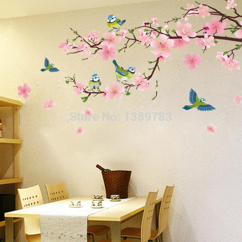 L'arrivée de nouveaux peach blossom stickers muraux romantique décoration murale de fond