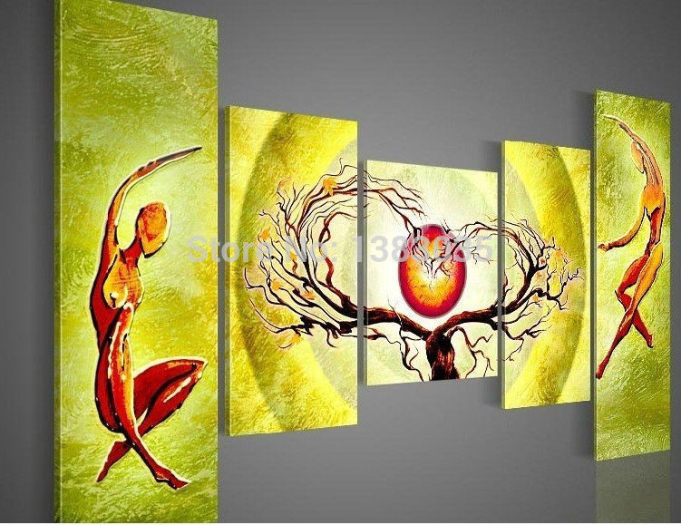 2018 Hand Painted Lovers Tree Heart Oil Painting On Canvas Modern ...