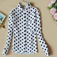 2014 new arrive spring women's shirt  wave shirt Dot long sleeve shirt cultivate one's morality fashion shirt Free shipping