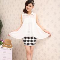 New arrive 2014 summer women's shirt irregular high quality  sweet shirt chiffon shirt Free shipping