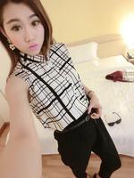 2014 summer  new arrive women's shirt  sleeveless shirt  fashion shirt+  trousers  send belt Free shipping