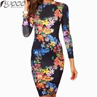 Hot Summer New Women Flower Print Black Dress Women's Bodycon Long Sleeve O-Neck Backless Sheath Dresses 15476