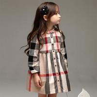 New 2014 Brand Children Girls Autumn Long sleeve Plaid Dresses Beautiful Girls Clothing