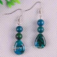 Blue Azurite Beads Dangle Earrings Women Jewelry Free Shipping T041