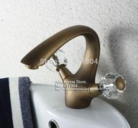 "Classic Style Vintage  Brass Double  Ball Handles  6"" Bathroom Bath Lavatory Vessel Basin Faucet Mixer Tap 2210061A"