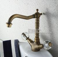 """Vintage Brass 9"""" Bathroom Lavatory Bath Basin Faucet Mixer Tap Dual Ball Handles Swivel Spout 2110113A"""