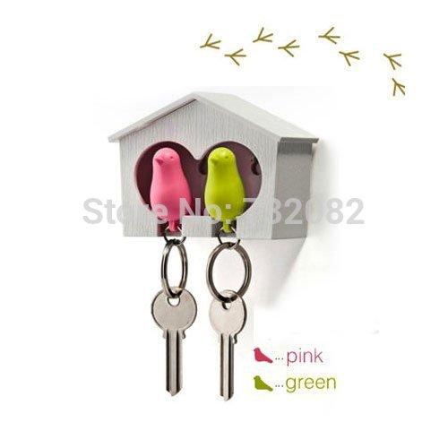 1set Bird Lovers Keychain Bird Couple Key Chains Whistling Cute Bird House Key Holder Personality Wedding Gift E2659-green+pink(China (Mainland))