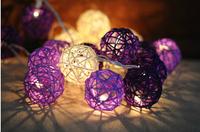 2014 Sale Papai Noel 5meter 20 Latterns (5cm Dia) Rattan Ball String Led Light for Christmas Xmas Home Decoration Outdoor Decor