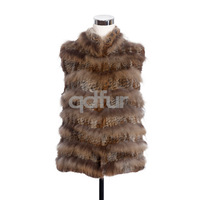 2014 Ladies' Genuine Knitted Rabbit Fur Vest Waistcoat Raccoon Fur Patchwork Winter Women Fur Outerwear Coats Jacket QD30432