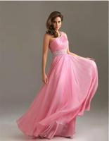 Fashion New One Shoulder Sexy Backless Long Evening dress Pink Chiffon vestidos prom dresses 2014 vestido de festa longo E37
