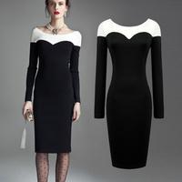 2014 New UK 6XL Large Plus Size Female OL Elegant Black And White Patchwork Slim O-neck long Sleeve One-piece Women Long Dresses