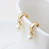 Popular accessories women fashion elegant pearl stud earring brief ol sweet all-match