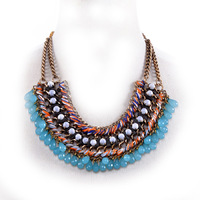 Fashion 2014 women summer statement necklace with blue beaded choker necklace ,NL-2157