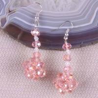 Free shipping Mix Colour Glass Beads Dangle Earrings Women Jewelry T062