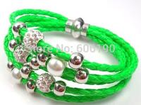 SHB901 Hot Sellings Mixed Colors(12pcs/lot) High Quality fashionable Women's handmade leather knitted Shamballa jewelry bracelet