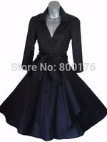 Free shipping 50s 60s V-neck Vintage Dancing Swing Jive Black Rockabilly Dress Kleid