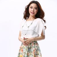 Hot sale 2014 summer new arrive chiffon blouse bud silk shirt white big yards short sleeve shirt Free shipping